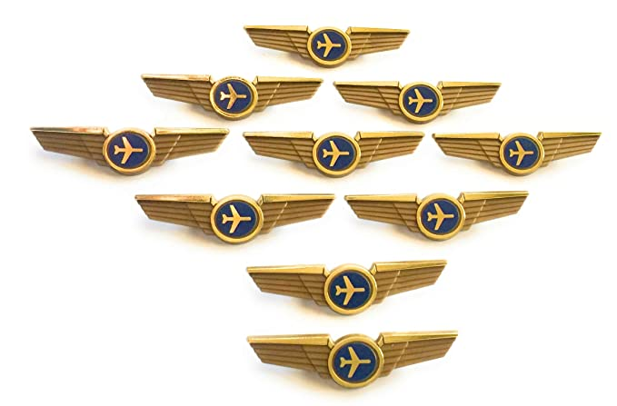 Aviator Kids Pilot Wings Plastic Pins Pinbacks Badges Lot of 10 Pins Gold