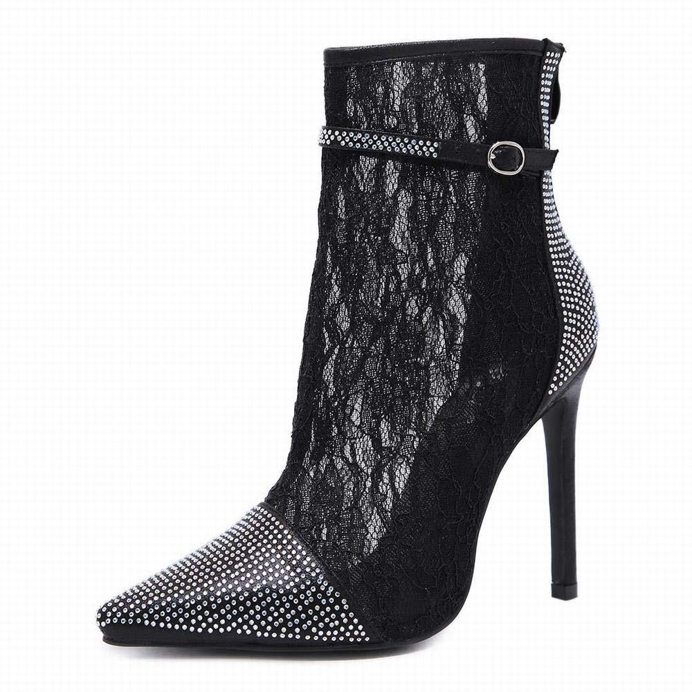 GSAYDNEE Sexy Spitze des Schuhs der Frauen Spitze Spitze Rhinestone-klumpige Ferse (Farbe   schwarz Größe   37)