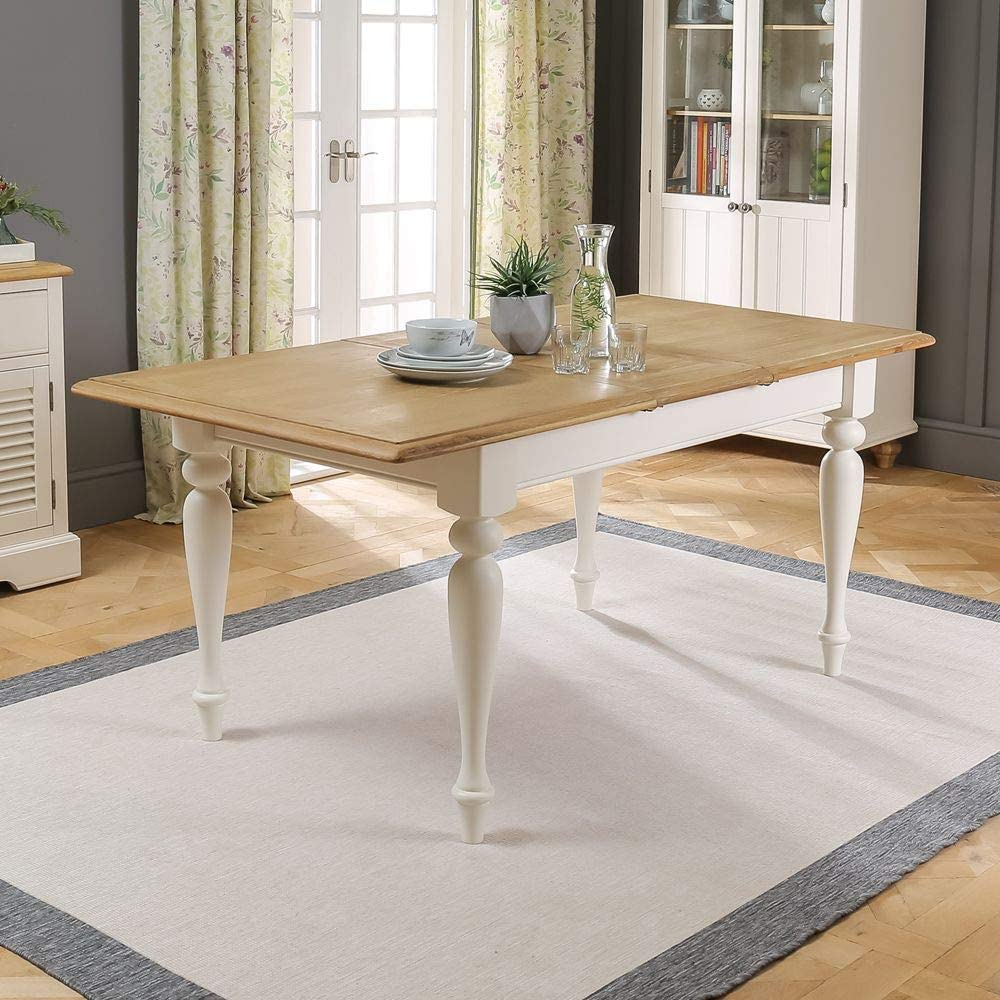 The Furniture Market Chatsworth Cream Painted Rectangle Extending Dining Table 6 Seater Amazon Co Uk Kitchen Home