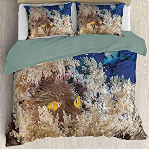 Waynekeysl Sea Animal Duvet Cover Set, Reef with Little Clown Fish and Sharks East Egyptian Red Sea Life Scenery, Decorative 3 Piece Bedding Set with 2 Pillow Shams, Full Size, Blue Cream