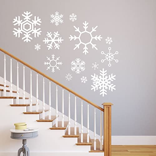 Snowflake Wall Decals   Christmas, Winter Vinyl Home Decor   Available In  White, Silver