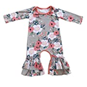 Cilucu Romper for Baby Girls Newborn Gown Infant Ruffle Cotton One-Pieces Clothing Floral Outfits Pink Flower 0-6 Months