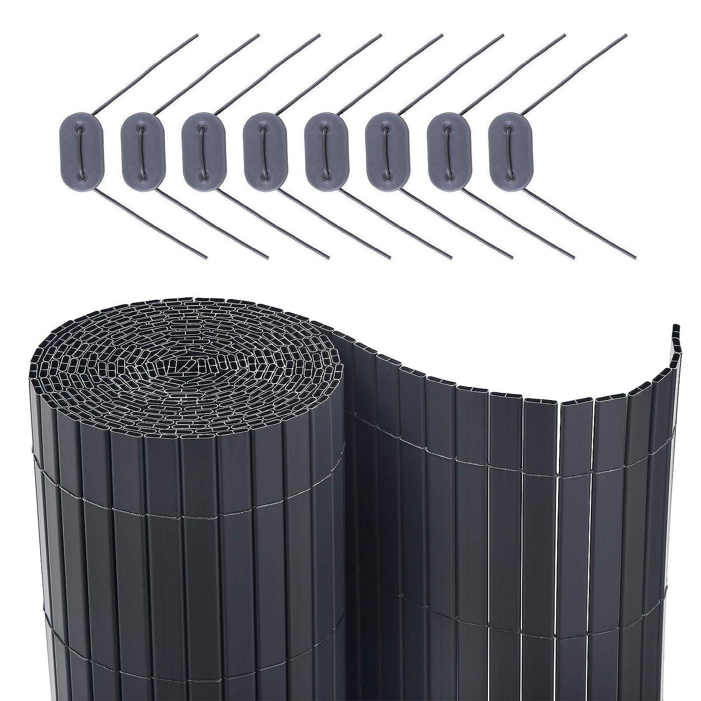 SONGMICS PVC Sichtschutzzaun, 80 x 300 cm, Balkonverkleidung, Sichtschutzmatte, Balkonumrandung, Blende mit verstärkten Lamellen, Garten, Balkon, Terrasse, Outdoor, grau GPF083GY