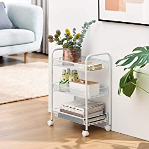 3-Tier Mesh Wire Rolling Storage Cart Multifunctional Utility Cart with 4 Free Rolling Casters, 2 Lockable Wheels, 4 Hooks for Home, Office, Kitchen, Bathroom, Bedroom, Storage Organizer-White