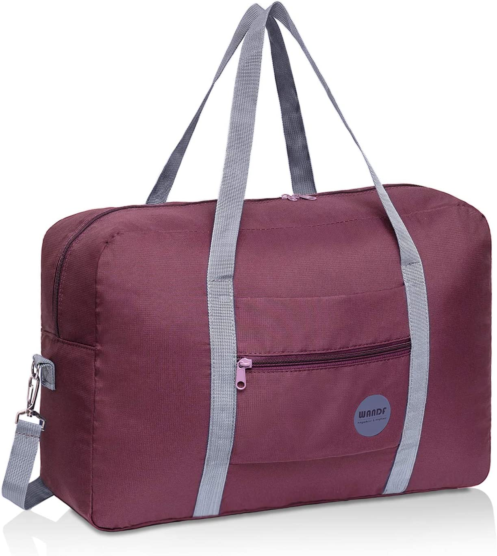 WANDF Foldable Travel Duffel Bag Super Lightweight for Luggage, Sports Gear or Gym Duffle, Water Resistant Nylon (Rojo Vino con Correa de Hombro)