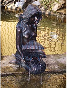 Michelle Mermaid Water Feature, Decorative Spitter Fountain for Water Garden koi Fish Ponds, Yards