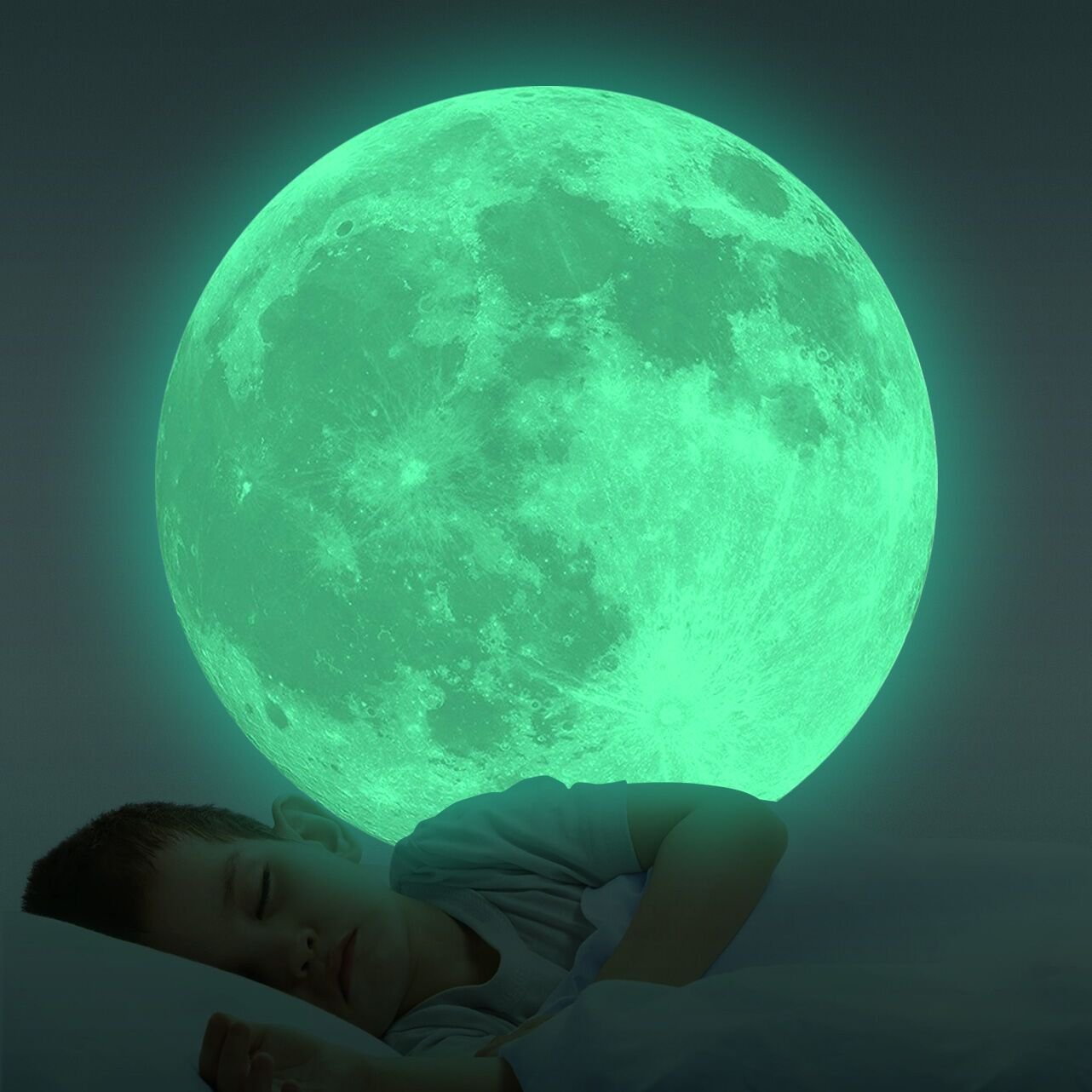 Homics Glow in The Dark Moon Wall Decals 30cm Luminous Sticker at Night, Perfect Ceiling or Wall Decor for Kids' Bedroom (Green)