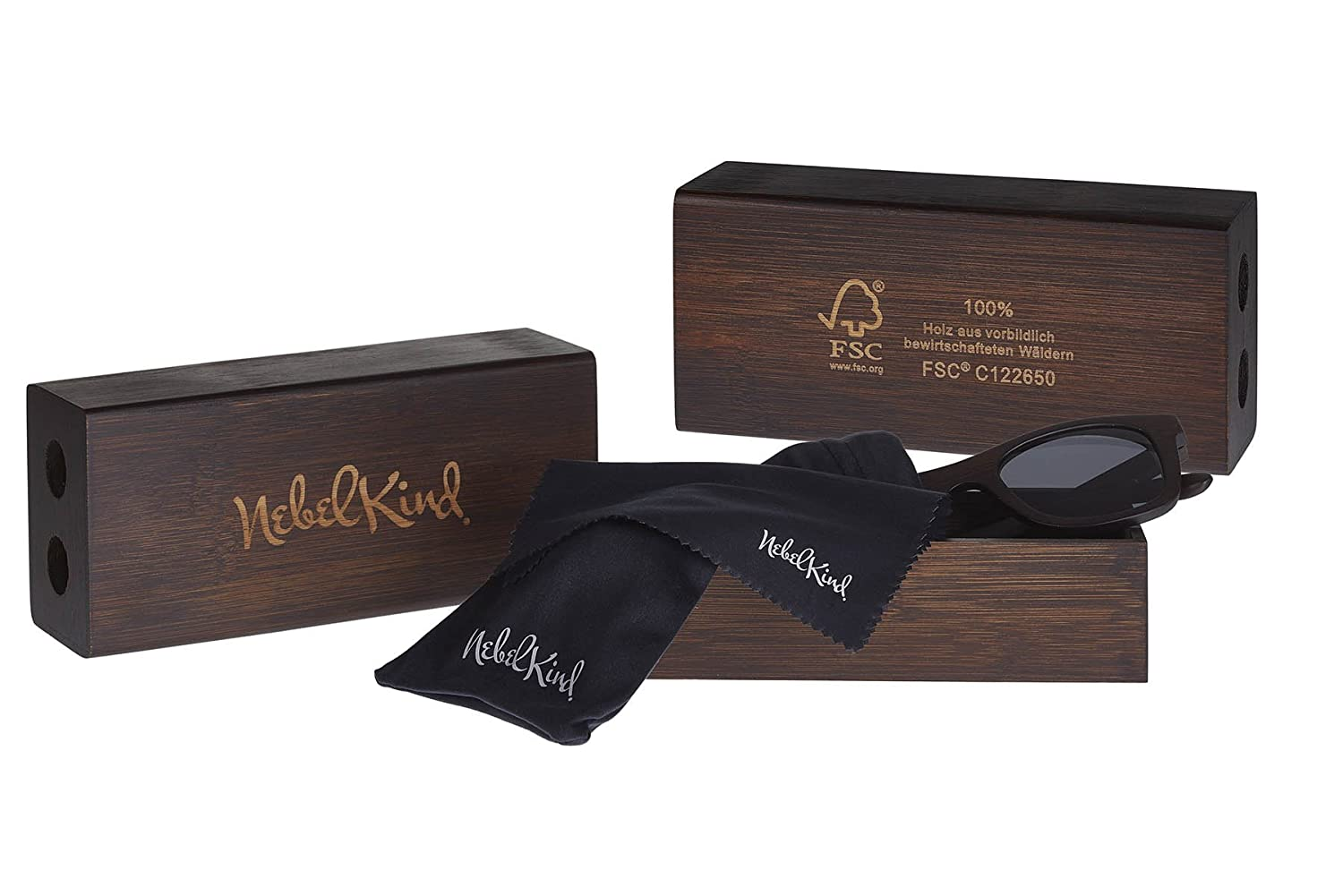 Nebelkind Wooden Sunglasses Bamboobastic made of Bamboo darkbrown  FSC-certified unisex  Amazon.co.uk  Clothing a9f74c2d9e53