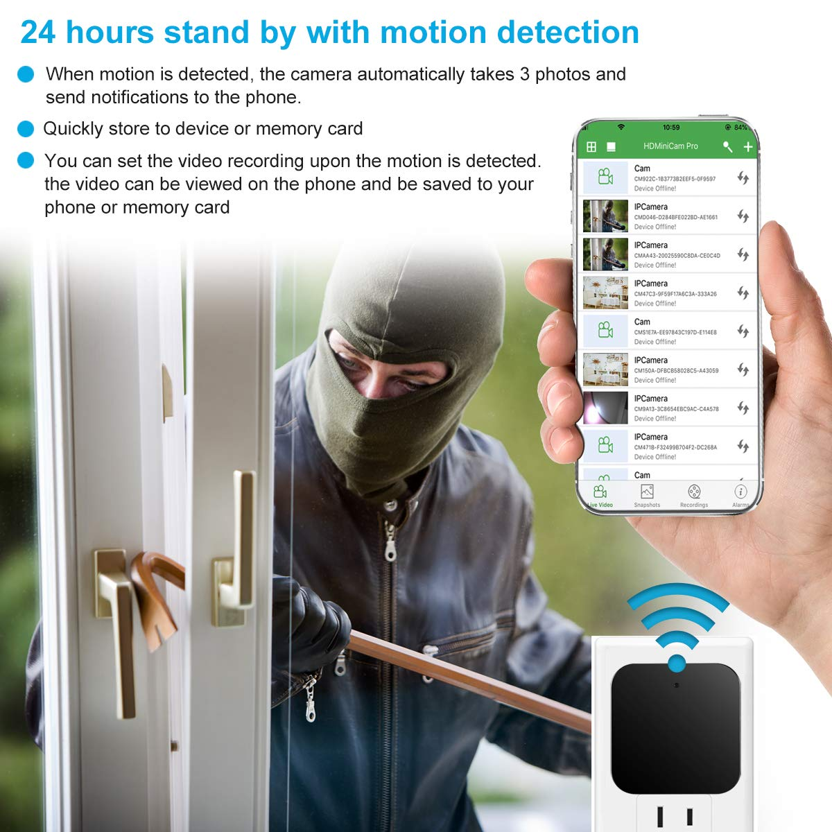 KMBCAM Spy Hidden Camera Wireless Home Charger Cam with App 1080P Nanny Cam No Audio Night Vision Motion Activated for Pet Security Cam Support 129G SD