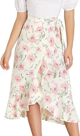 Allegra K Falda Midi Cruzada Floral con Volantes Falda Asimétrica Cintura con Lazo para Mujer