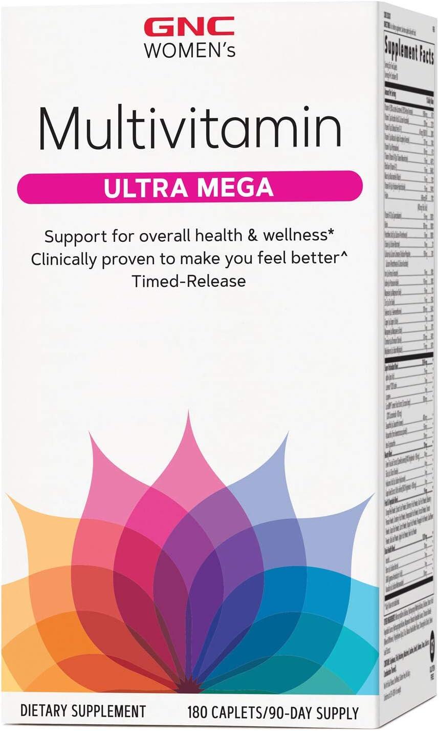 GNC Women's Multivitamin Ultra Mega, 180 Caplets, Support for Overall Health & Wellness