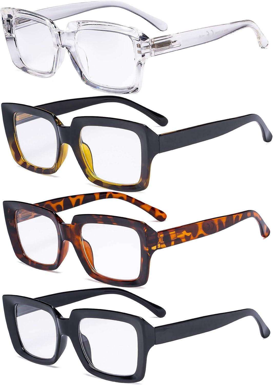 5-Pack Stylish Reading Glasses for Women Black 0.50