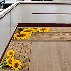 "Kitchen Rugs Sets 2 Piece Floor Mats 3 Sunflower on The Wooden Table Doormat Non-Slip Rubber Backing Area Rugs Washable Carpet Inside Door Mat Pad Sets (15.7"" x 23.6""+15.7"" x 47.2"")"