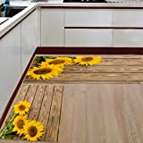 Kitchen Rugs Sets 2 Piece Floor Mats 3 Sunflower on The Wooden Table Doormat Non-Slip Rubber Backing Area Rugs Washable Carpe