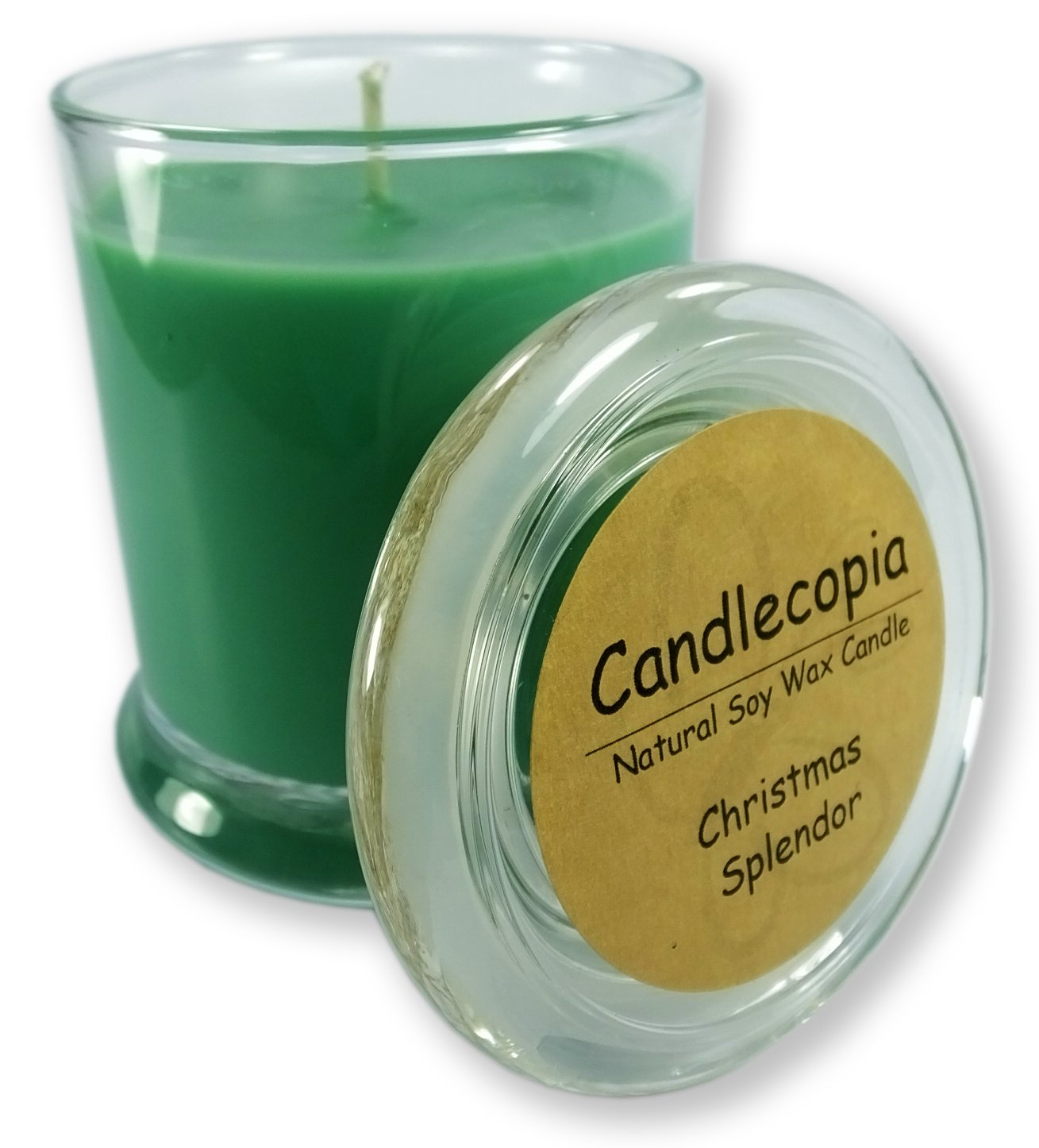 Candlecopia Christmas Splendor Strongly Scented Hand Poured Vegan Candle, Status Jar, Glass Lid