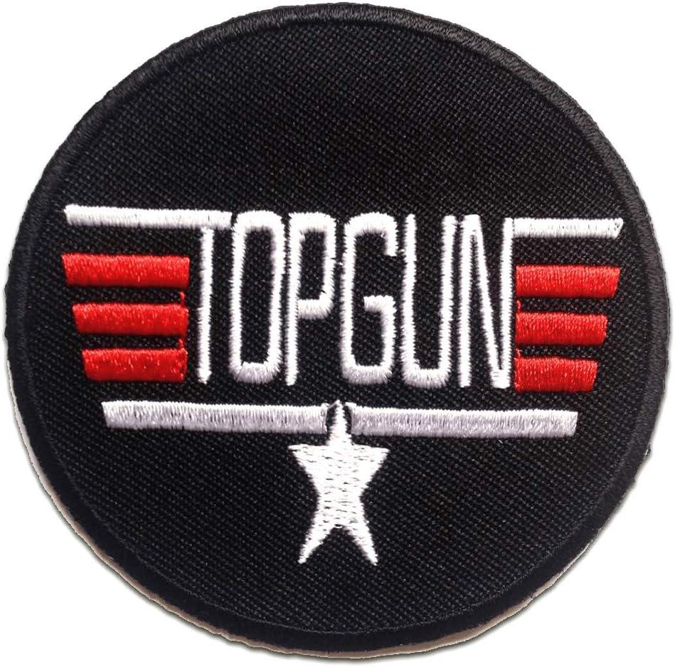 Parches - TOP GUN Logo - negro - 7.3x7.3cm - termoadhesivos bordados aplique para ropa: Amazon.es: Hogar