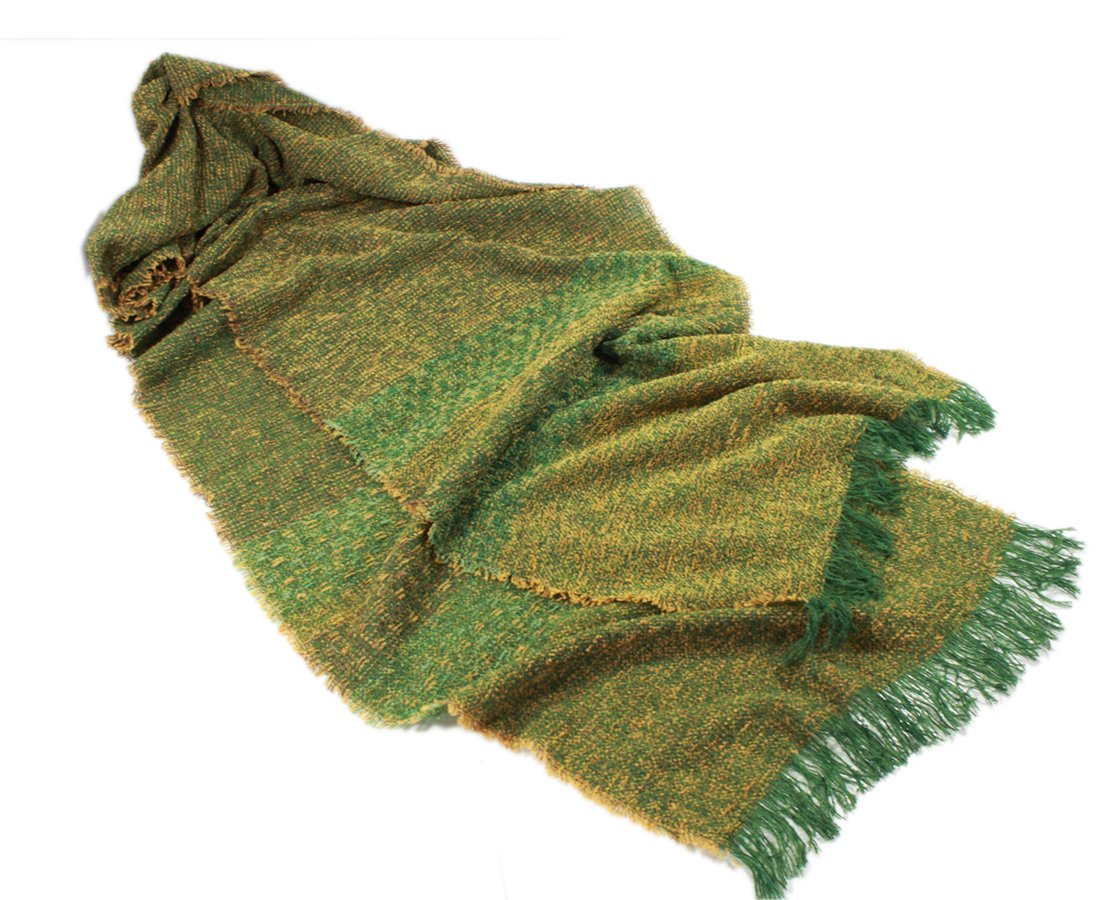 Long Scarf Kelly Green Gold 84'' Soft Lambswool Blend Irish Made