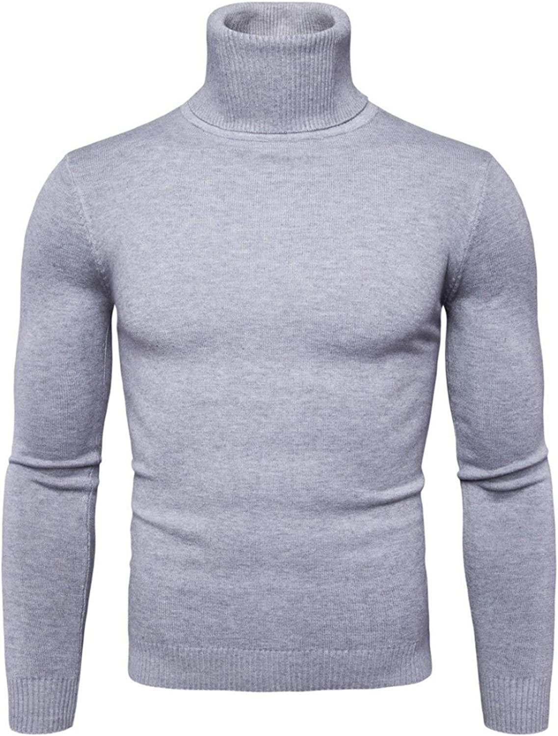 Robert Reyna Fashion Mens Turtleneck Sweaters Long Sleeve Knitted High Elastic Sweater,X-Large,LightGray