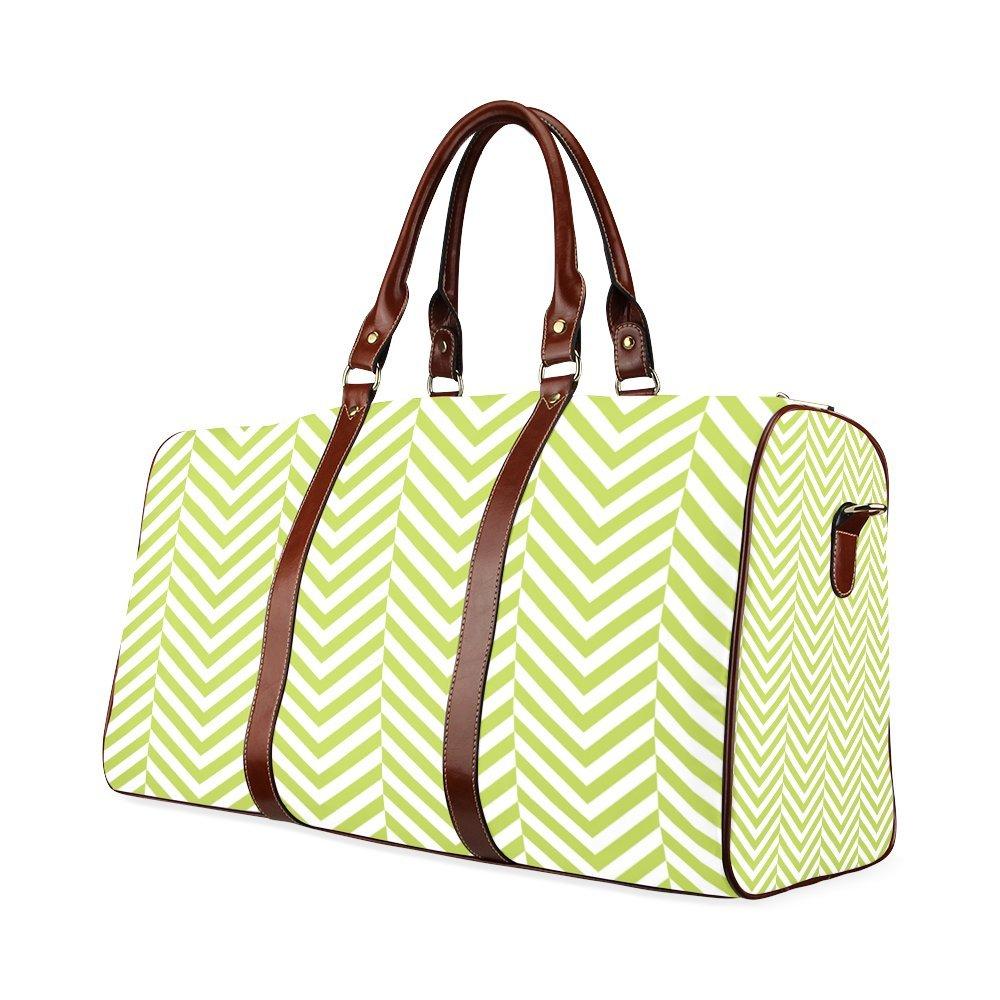 Spring Green And White Classic Chevron Pattern Custom Waterproof Travel Tote Bag Duffel Bag Crossbody Luggage handbag