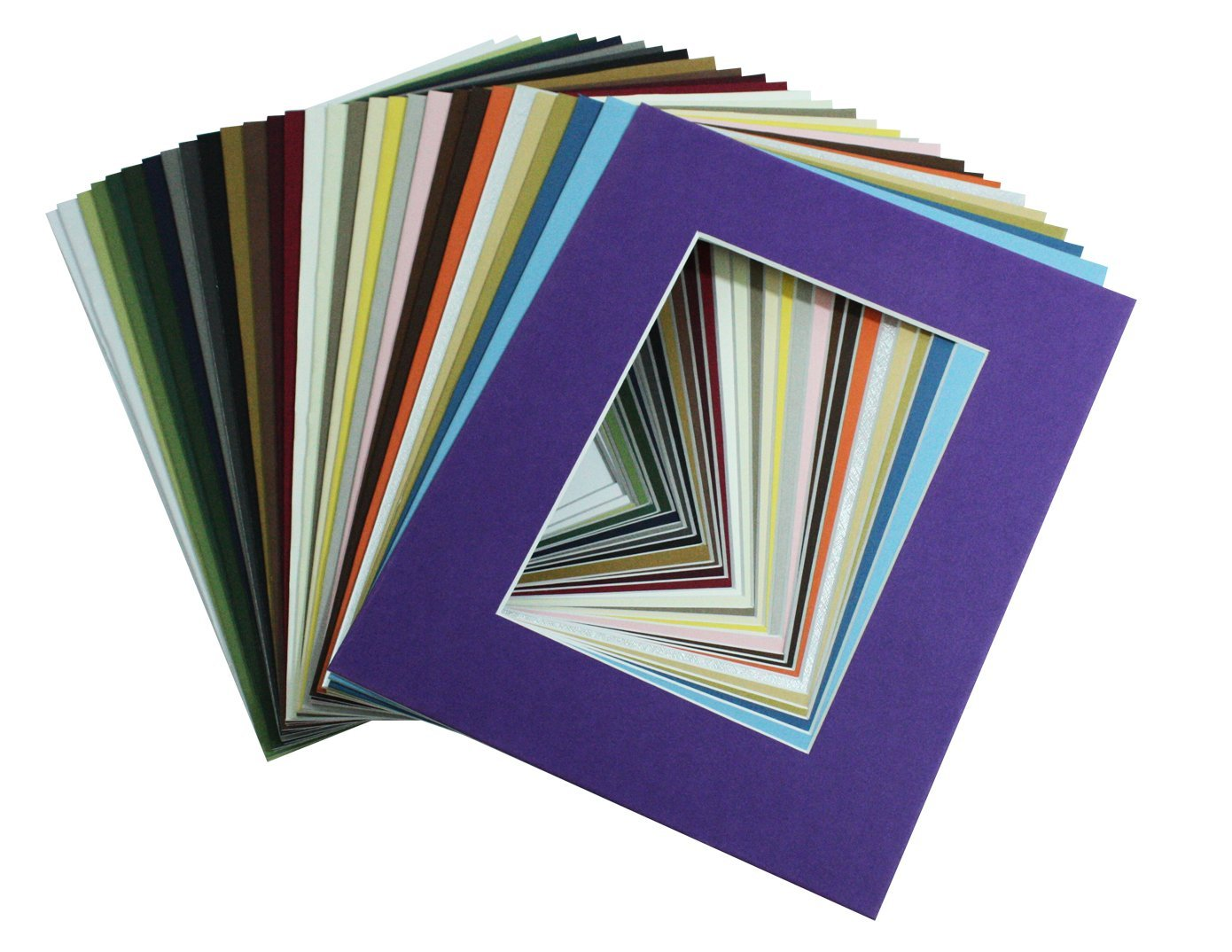Mat Board Center, Pack of 20, 8x10 MIXED COLORS White Core Picture Mats Mattes Matting for 5x7 Photo by Mat Board Center