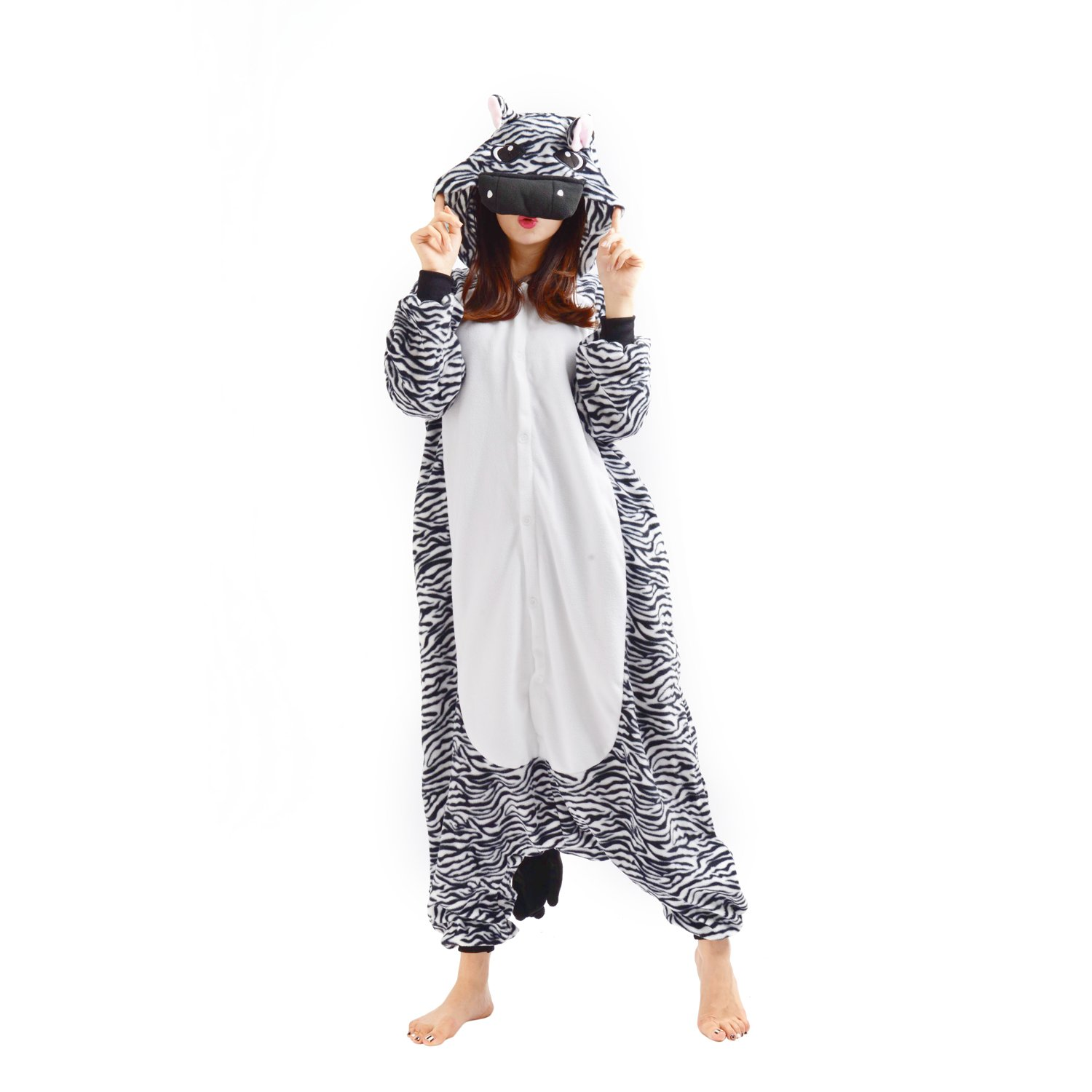 Casa Adult Anime Sleepsuit Pajamas Costume Animal Onesie Zebra Cosplay Size XL