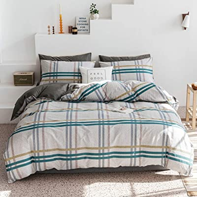 OTOB Boys Girls Cotton Plaid Geometric Queen Full Size Bedding Sets for Kids Adults Teen Bedding Duvet Cover Sets with 2 Pillowcases Zipper Closure Checkered Collection: Home & Kitchen