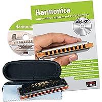 Cascha HH 1610 FR Professional Blues mondharmonica Set – mondharmonica met boek in het Frans + MP3-CD