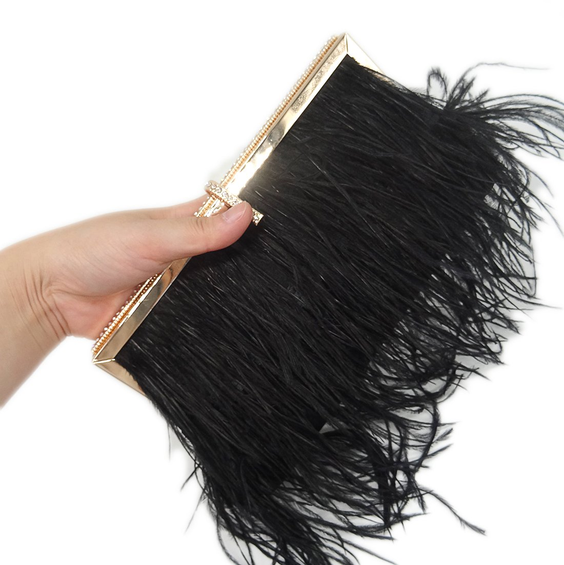 Zakia Real Natural Ostrich Feather Evening Clutch Shoulder Bag Party Bag (Black-B) by Zakia (Image #7)