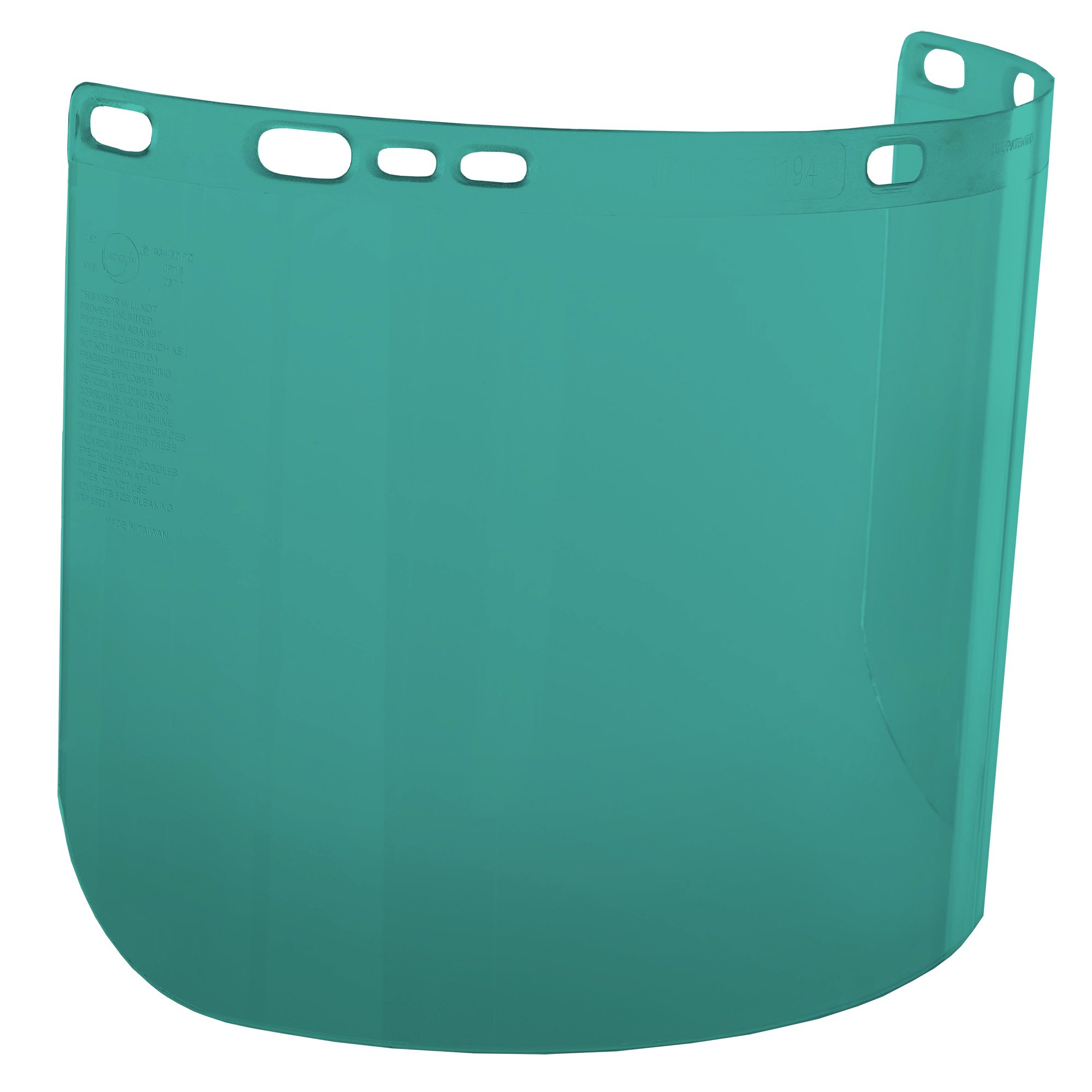 "Jackson Safety F20 High Impact Face Shield (29100), Polycarbonate, 8"" x 15.5"" x 0.04"", Dark Green, Face Protection, Unbound, 36 Shields / Case"