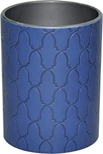 FIS Italian PU Pen Holder Blue Color with Embossed Designs & Sewing - FSPHPUBLD1