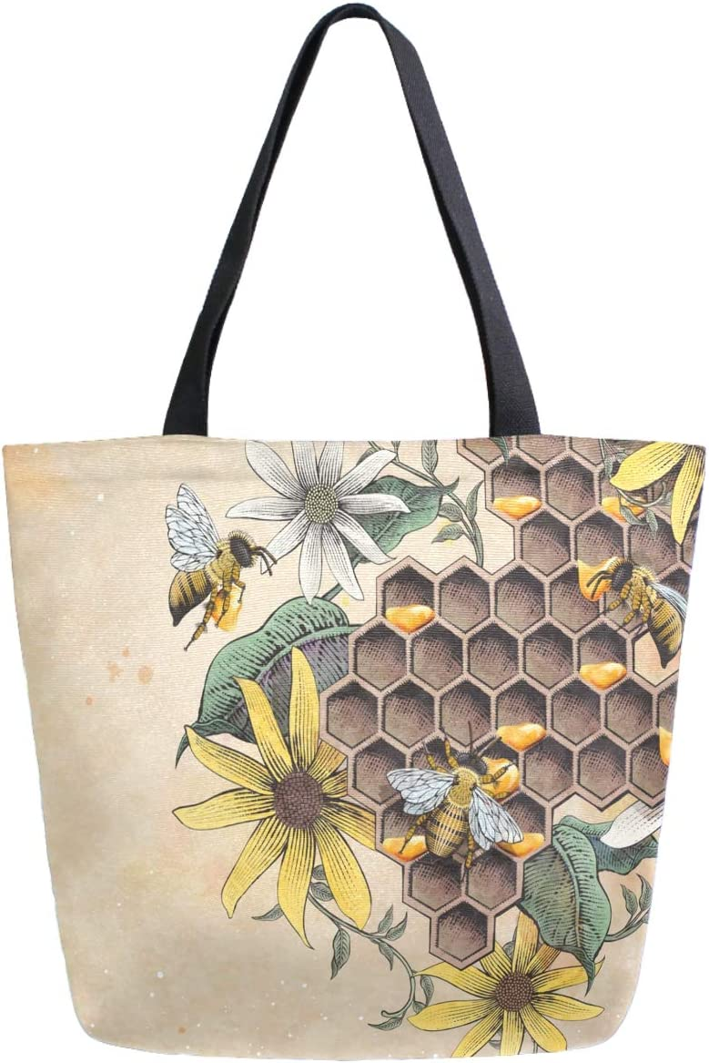 ZzWwR Sunflowers Honey Bee Apiary Retro Extra Large Canvas Shoulder Tote Top Storage Handle Bag for School Gym Beach Weekender Travel Reusable Grocery Shopping