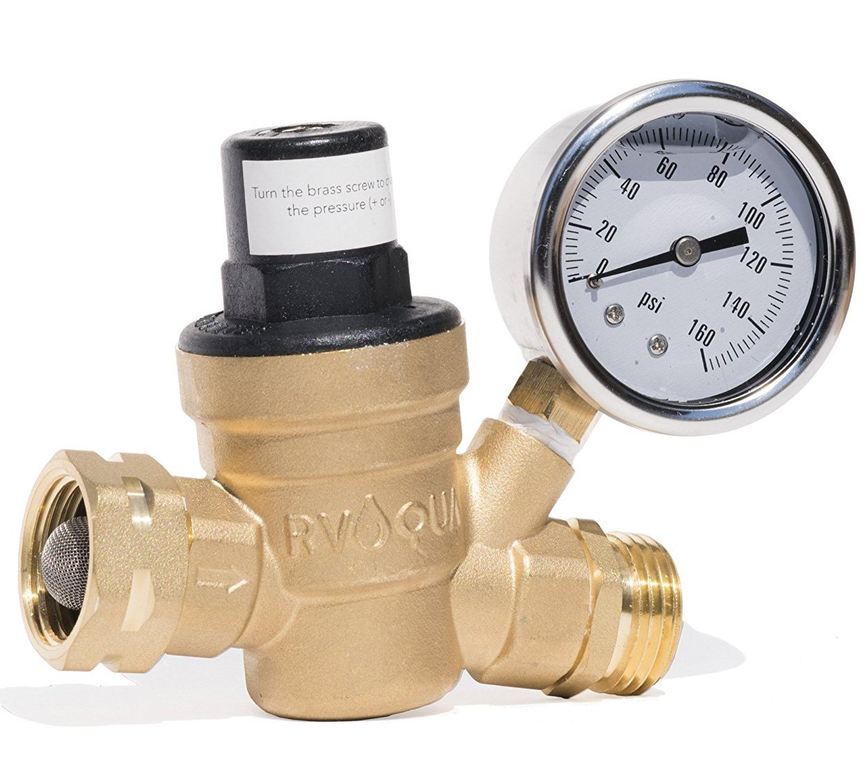 RVAQUA M11-45PSI Water Pressure Regulator for RV Camper - Brass Lead-Free Adjustable RV Water Pressure Reducer with 160 PSI Gauge and Inlet Stainless Screened Filter