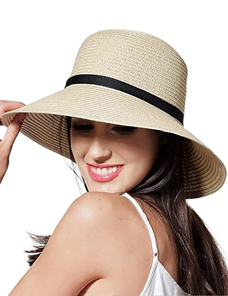 6d6f3cafb65 CAIYING Women Summer Sun Beach Straw Hat Travel Packable Cap with Chin Strap  (Beige