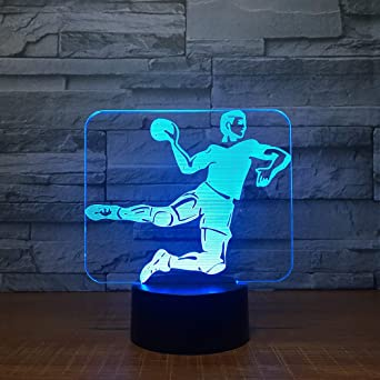 MCJDF Balonmano 3D Lámpara Led 7-Color Base táctil Mesa de luz ...