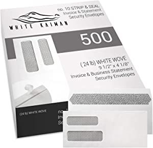 White KaimanⓇ 500 ct #10 Peel & Seal Double Window Security Envelopes - Designed for Business Invoices and Statements - 9 1/2