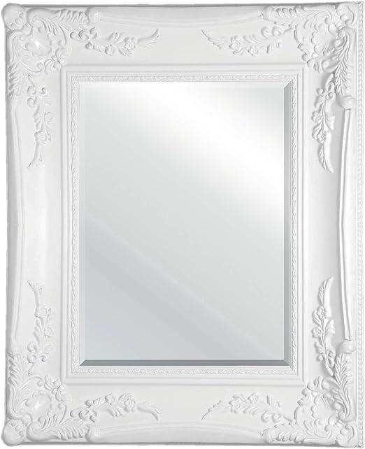 Premier Housewares Distressed Ornate Wall Mirror 45 X 55 Cm White Amazon Co Uk Kitchen Home