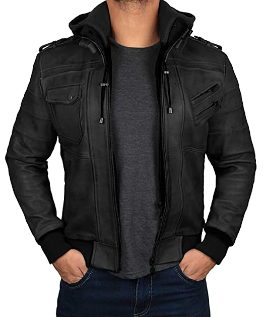 Amazon.com: Chaqueta de piel para hombre, con capucha, color ...