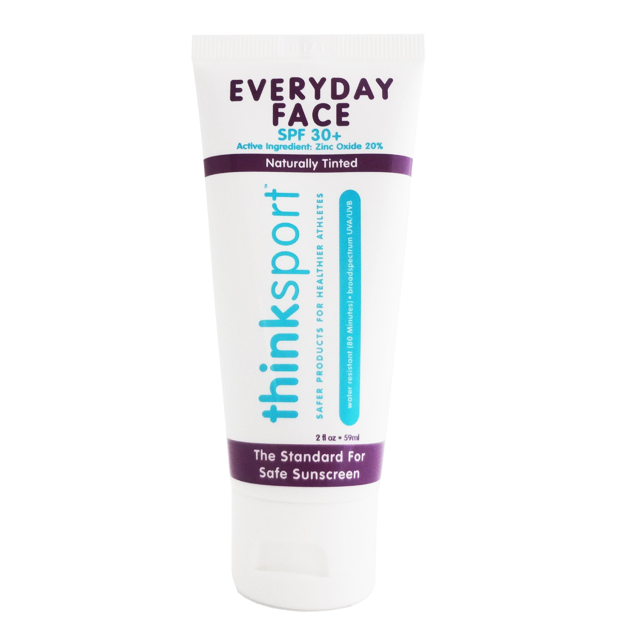 Thinksport Everyday Face Sunscreen, Naturally Tinted, Currant, 2 Ounce