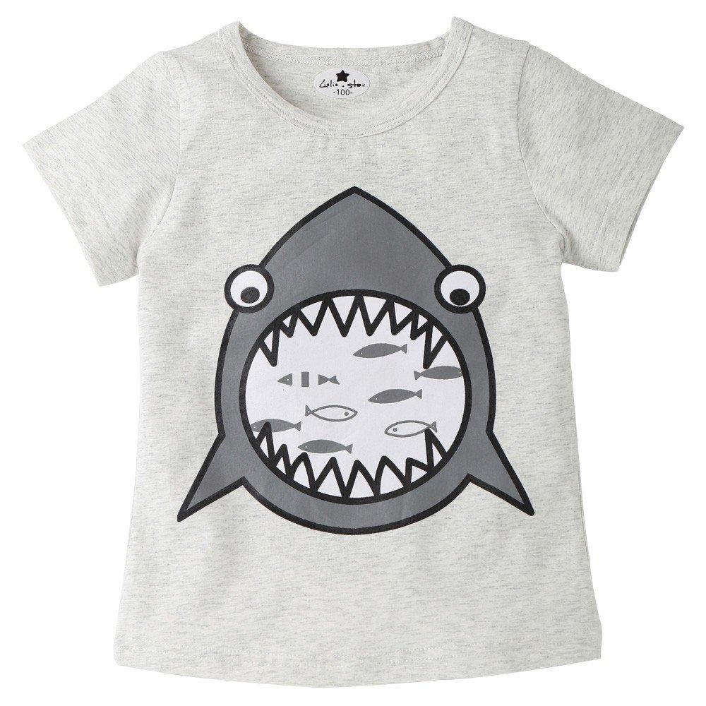 Infant Kid Shark Cartoon Print T-Shirt - Tops Boy Girl SummerChildren Shirts Tee,2019 New Gray