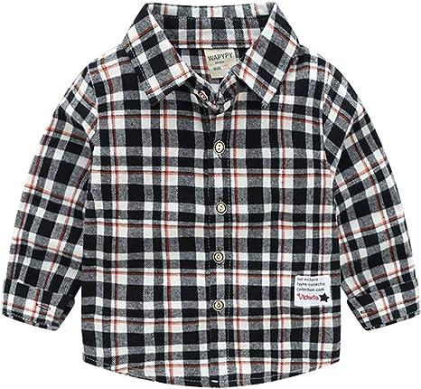 Niños Bebé Camisa de Cuadros Manga Larga Camiseta Algodón Shirt Tops Blusa Rojos 2-3 Años: Amazon.es: Bebé