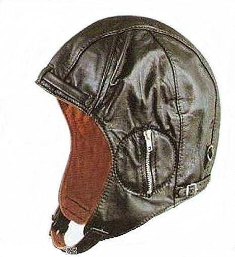 2665102d55b Amazon.com  Aviator Black Leather Vintage WWII Hat Medium  Sports ...