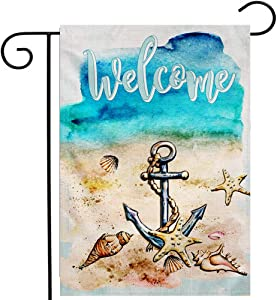 Ogiselestyle Welcome Anchor Garden Flag Vertical Double Sided,Beach Starfish and Seashell Decorative Sea Flag Yard Outdoor Decoration 12.5 x 18 Inch