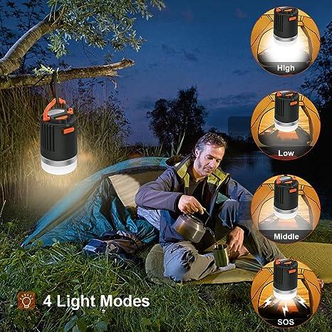ELEPOWSTAR Lámpara Camping Recargable 8800mAh, 4 Modos, Impermeable Portátil Lámpara Camping LED, Linterna Camping para Pesca, Montaña y Otros ...
