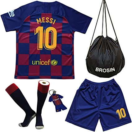 Kids Soccer Jersey With Short And Sock Football Jersey 2021 Barcelona Messi Kids Youth Soccer Gift Set Shorts Sock Shorts Amazon Canada