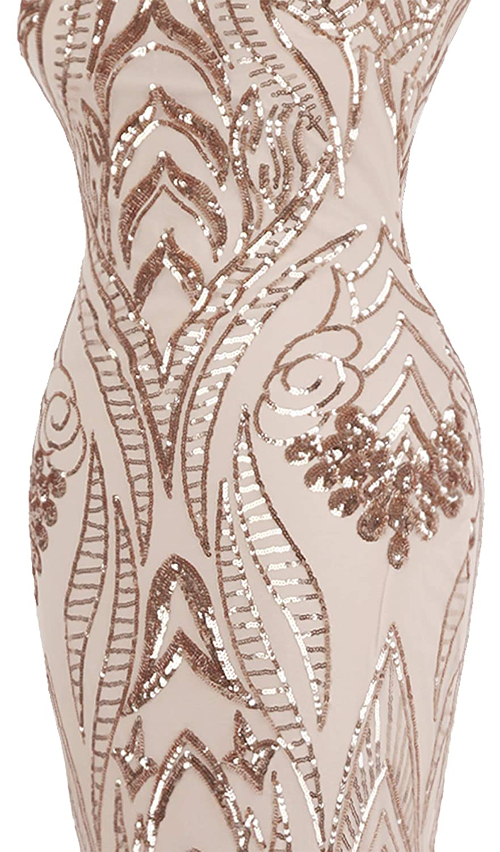 Angel-fashions Damen Bateau Uberwurfhulse Blumen Paillette Mantel V Zuruck Abendkleid