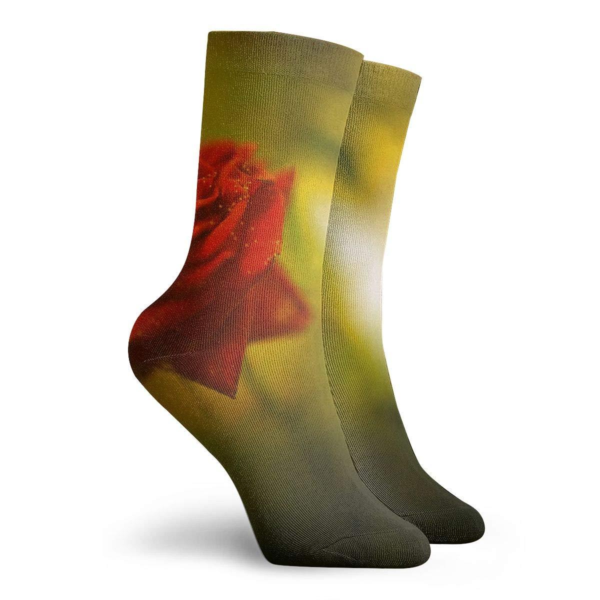 Unisex High Ankle Cushion Crew Socks Red Rose Casual Sport Socks