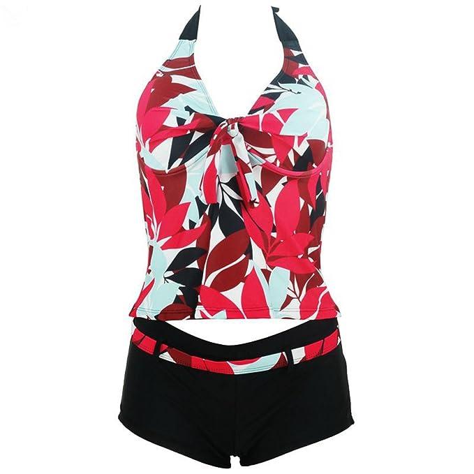 1beaa71bc3a Caseminsto Plus Size Swimwear Women Swimsuit Push Up Print Floral Swim  Bathing Suit V Neck Halter