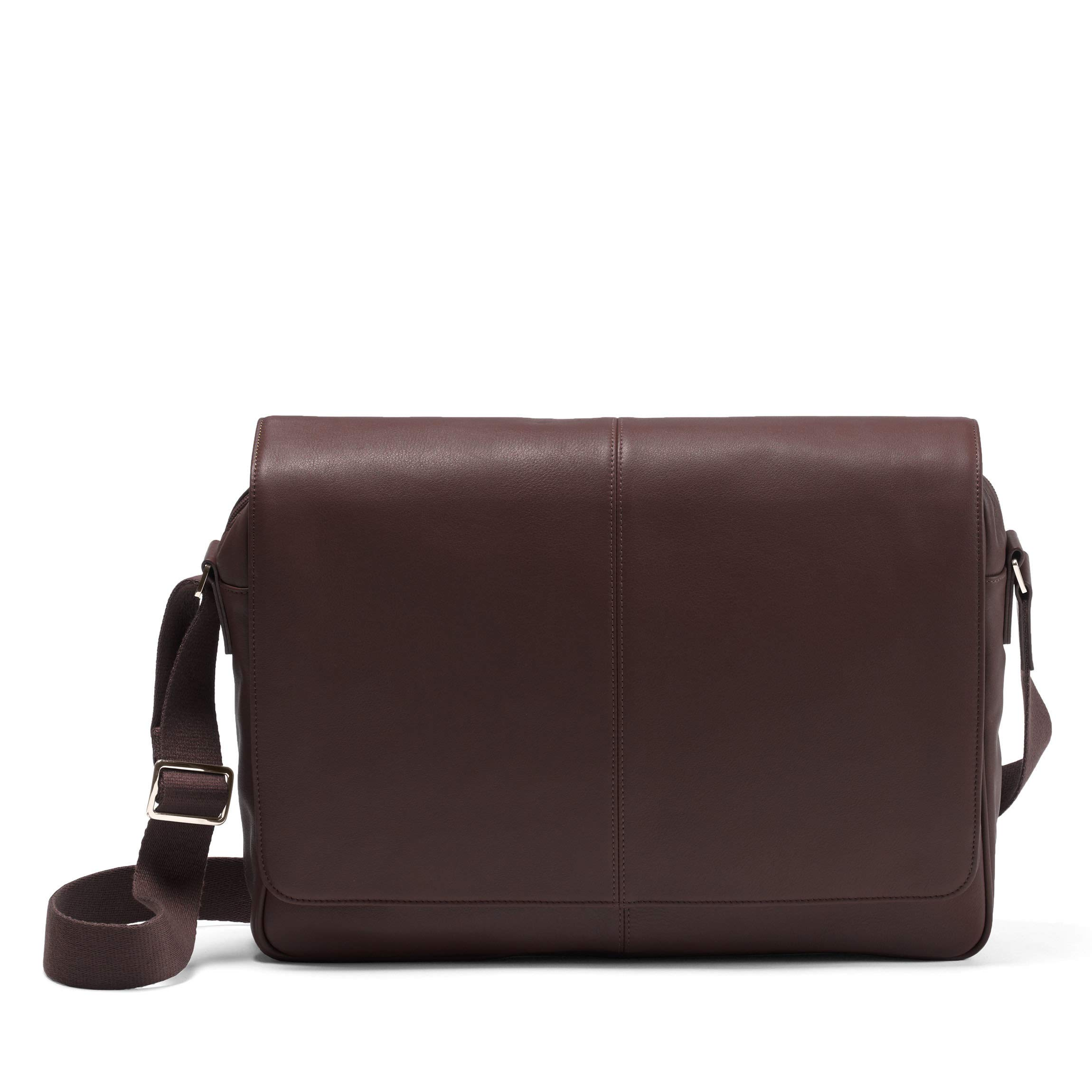 Laptop Messenger Bag - Full Grain Leather Leather - Brown (brown)