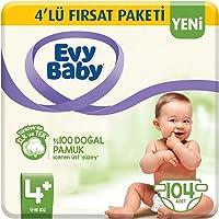 Evy Baby Bebek Bezi 4+ Beden Maxiplus 4'lü Fırsat Paketi 104 Adet