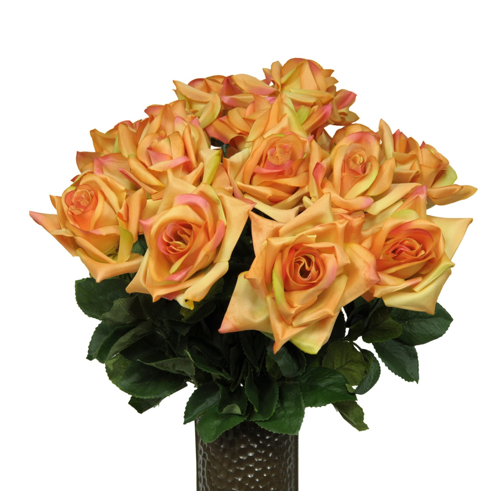 Sunset-Orange-Diamond-Roses-Artificial-Bouquet-featuring-the-Stay-In-The-Vase-Designc-Flower-Holder-MD1552